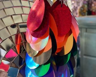 Jumbo Sequin Rainbow Earrings Pride Sequin Dangle Earrings