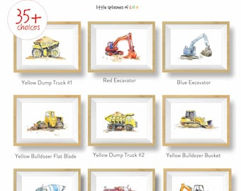 36+ Choices, Construction Prints Set for Boys Room, Construction Truck Wall Art, Toddler or Baby Nursery Wall Decor