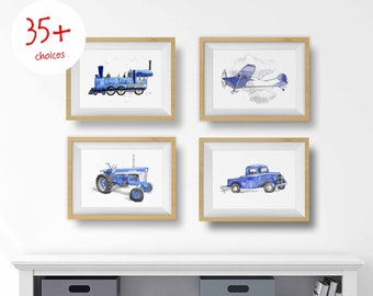 35+ Navy Blue Gray Transportation Prints for Toddler Boys Room, Vehicle Wall Art, Truck Prints, Train Prints, Airplanes, Watercolor