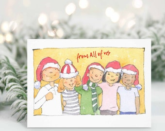 From All of Us Group Christmas Card from Office Co-Workers Small Business, Kids, Watercolor A6