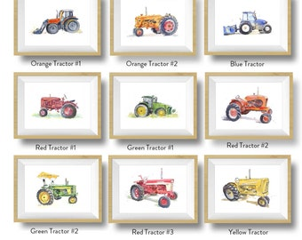 Farm Tractor Prints Set,  Nursery Decor, Watercolor Tractor Decor, Farmhouse Decor, Art Print, Tractor Nursery, Kids Wall Art