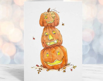 Cute Halloween Card for kid, boyfriend, girlfriend, husband, wife, October Birthday, Pumpkins, A6