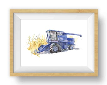 Blue Combine Printable, Vehicle Wall Art, Tractor Painting, Transportation Room Decor, Tractor Gift for Him
