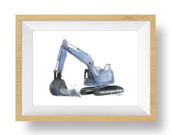 Blue Gray Truck Prints, Set of 2, Excavator, Dump Truck Nursery, Construction Wall Art for Toddler Boys Room, Baby Shower Gift, Watercolor