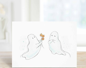 I Love Boo Halloween Card, Ghosts Card, October Birthday Card, Anniversary Card for wife, girlfriend, Watercolor A6
