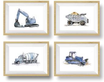 Blue Gray Truck Prints - Truck Nursery Decor - Construction Truck Prints - Truck Wall Art - Set of 3 or 4 - Navy Nursery Boys Room