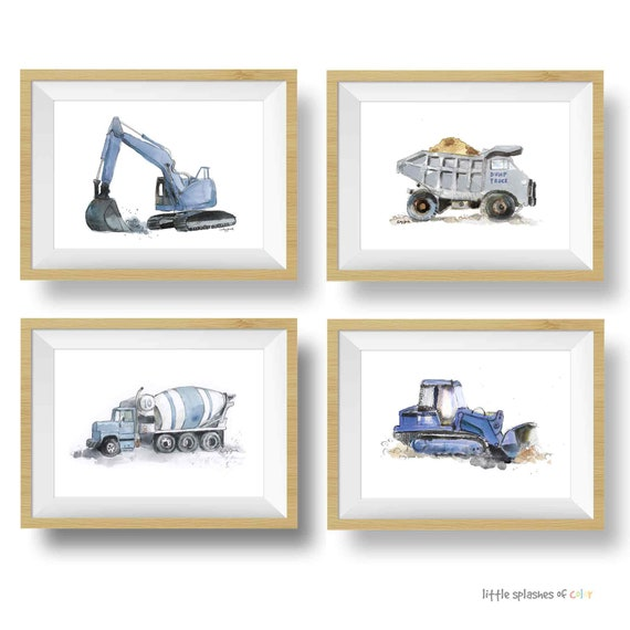 Construction Truck Printable Blue Gray Excavator Truck Wall Art for Boys Room