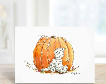 Cute Halloween Card for Girlfriend Wife or Kid, October Birthday, Greeting Card, Watercolor A6