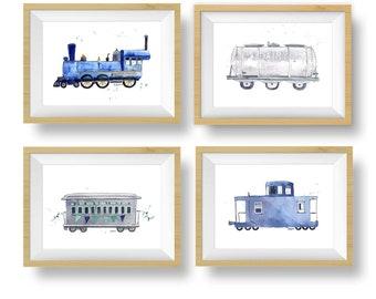 Set of 4 Navy Blue and Mint Train Printables, Train Wall Art, Train Nursery Decor, Toddler Boys Room Decor