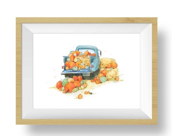 Turquoise Truck with Pumpkins Print, Fall Wall Decor, Watercolor Pickup Truck Painting, Wall Art