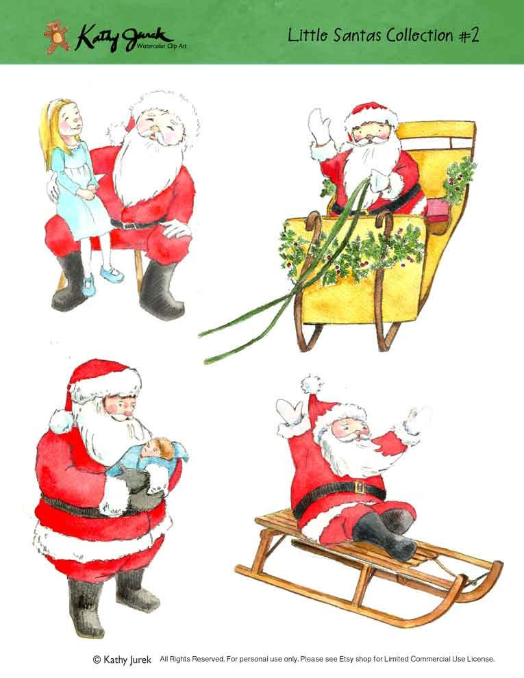 Santa Claus Watercolor Clip Art Christmas Santa Clip Art | Etsy