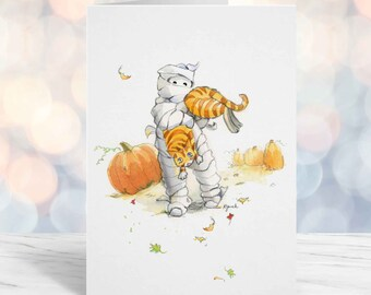 Funny Halloween Card, Kids Girlfriend October Birthday, Cute Orange Cat and Mummy Greeting Card, Watercolor A6