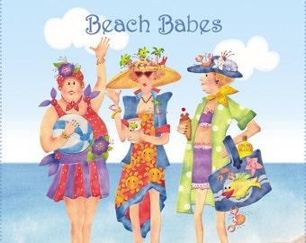 "New Beach Babes Fabric Art Panel 10"" x 12"""