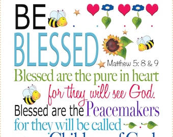"""AP6.88  Be Blessed - 6"""" square Fabric Art Panel"""