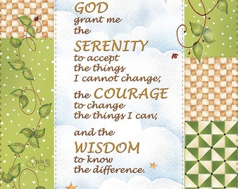 "Serenity Prayer Fabric 5"" x 7"""