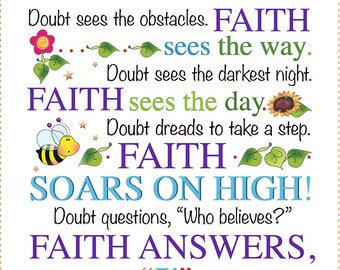 "AP6.53 Inspirational FAITH vs DOUBT 6"" fabric art panel"