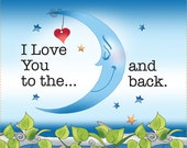 AP6.47. I Love You to the Moon Back 6 quot Square Fabric Art Panel