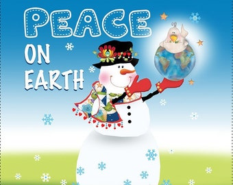 """AP6.89  Snowman Honoring PEACE 6"""" Fabric Art Panel"""