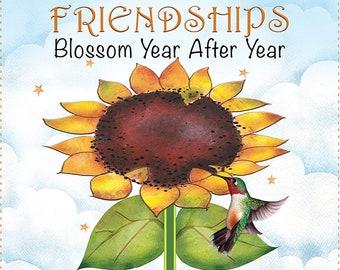 "Friendships Blossom - 6"" square Fabric Art Panel"