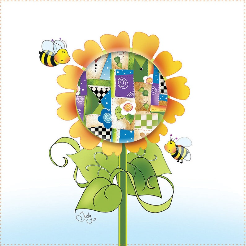 Quilted Sunflower with Bees  6 Fabric Art Panel image 0