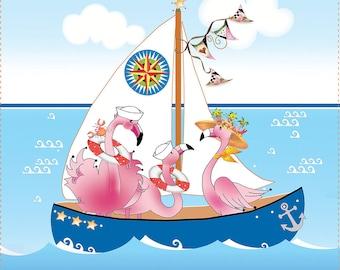 "AP6.91. Flamingos Sailboat - 6"" Fabric Art Panel"
