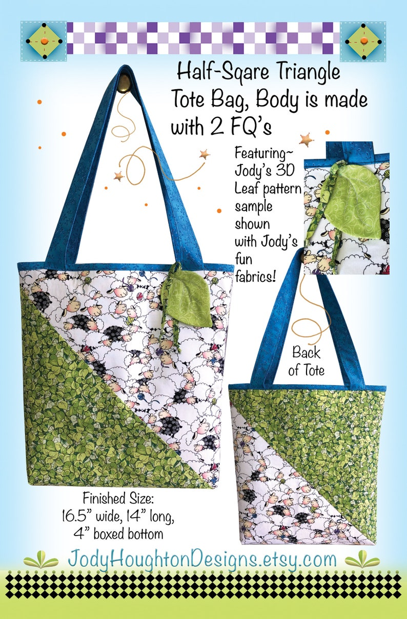 Half-Square Triangle Tote Kit featuring Jody's new fabrics image 0