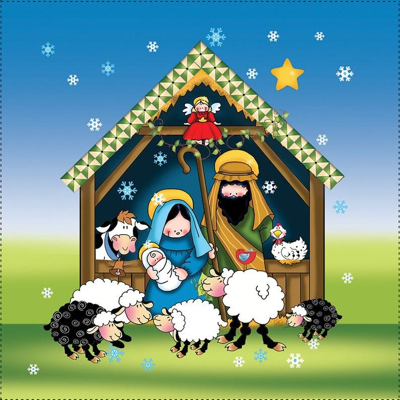 Nativity Scene  6 Fabric Art Panel image 0