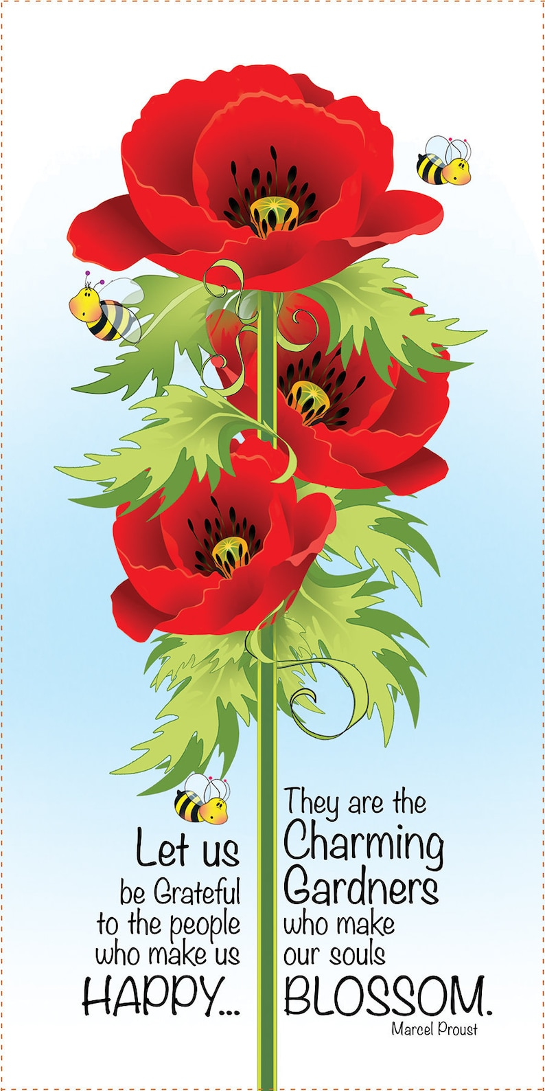 Happy Poppies  6 x 12 Fabric Art Panel image 0