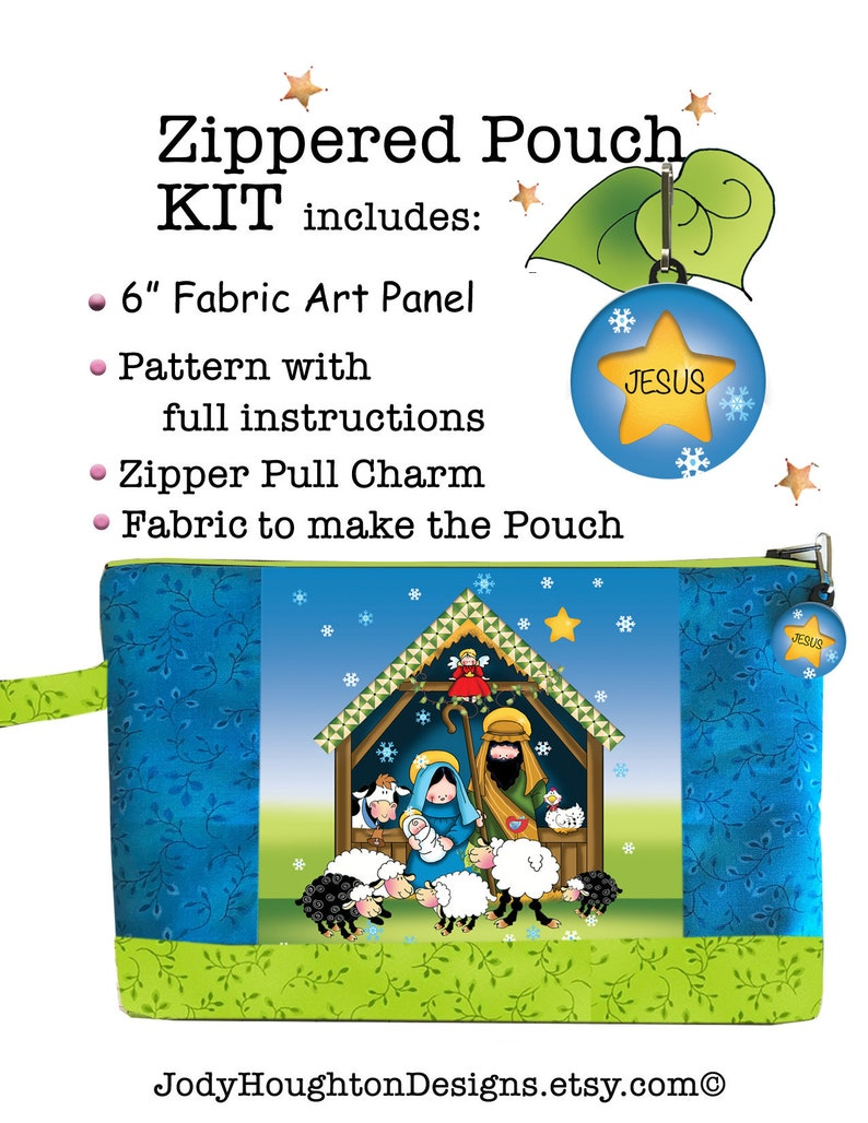 Nativity Zippered Pouch KIT with 6 Fabric Art Panel image 0