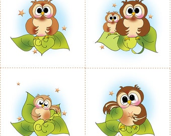 """Set of 4"""" Owl Fabric Panels with a decorative 3"""" x 42"""" Strip"""