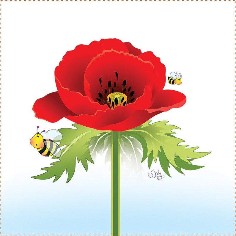 Poppy with little Bees  6 square Fabric Art Panel image 0