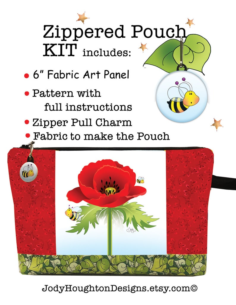 New Poppy Zippered Pouch Kit using a 6 square Fabric Art image 0