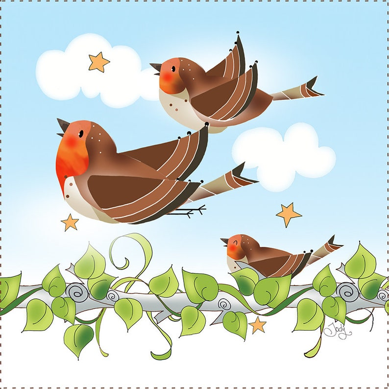 6 Fabric Art Panel  Happy Red Red Robins image 0