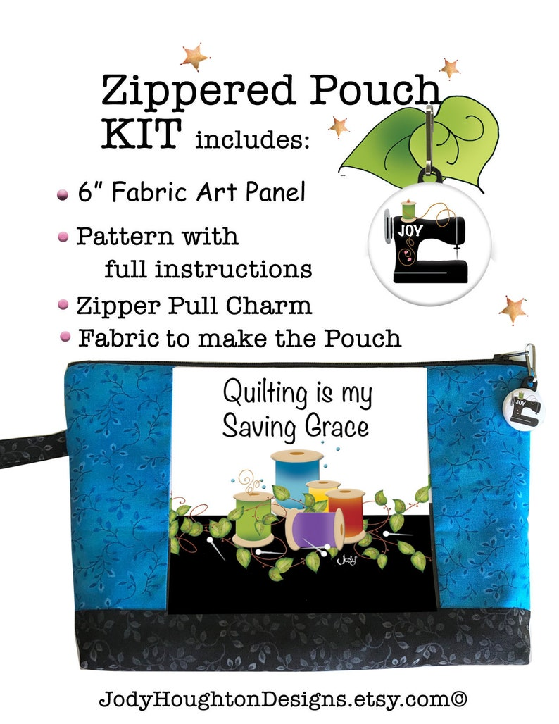 Saving Grace Pouch Kit  6 Fabric Art Panel image 0