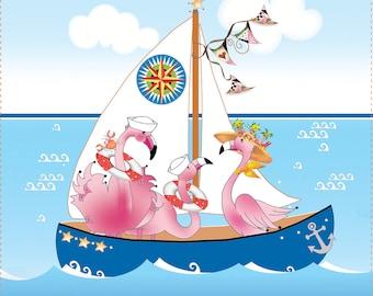 "Flamingos at Sea - New 8"" Square Fabric Art Panel"