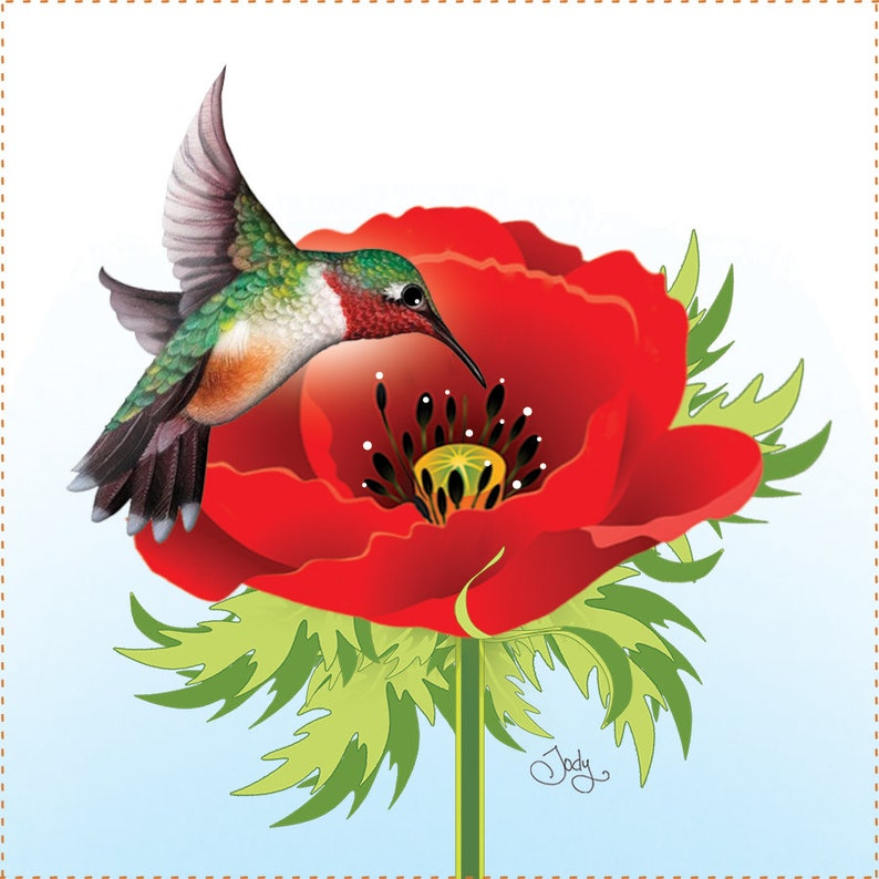 Hummingbird and Poppy 6 Fabric Art Panel image 0