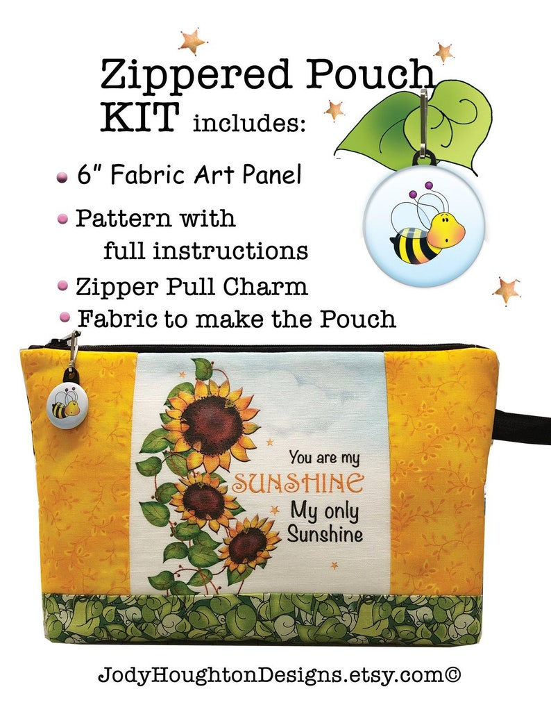 You are my Sunshine Pouch Kit  6 Fabric Art Panel image 0