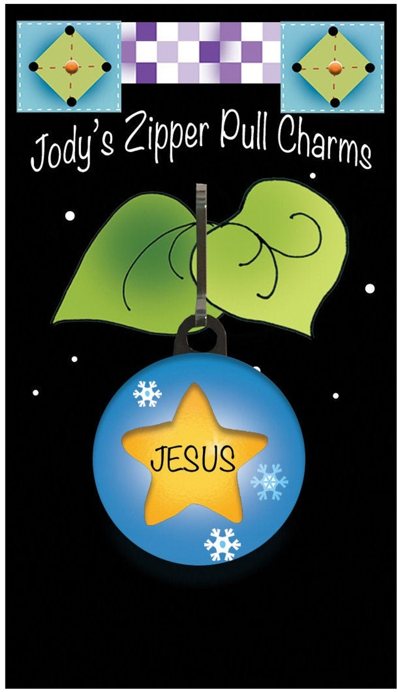 Zipper Charm for Christmas Gifts  Star with JESUS image 0