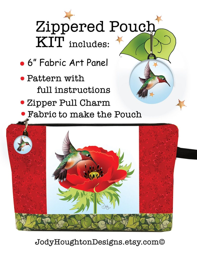 Hummingbird with Poppy Zippered Pouch Kit image 0