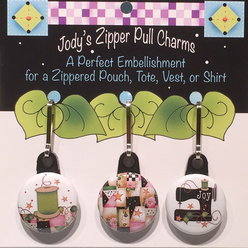 Patchwork Sewing Machine and Spool Zipper Charm Set