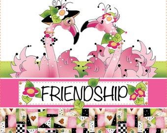 "AP6.84  Fancy Friendship Flamingos. 6"" square Fabric Panel"
