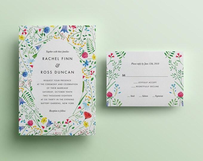 Blooms and Leaves Watercolor Flowers Wedding Invitation - Custom DIY Printable