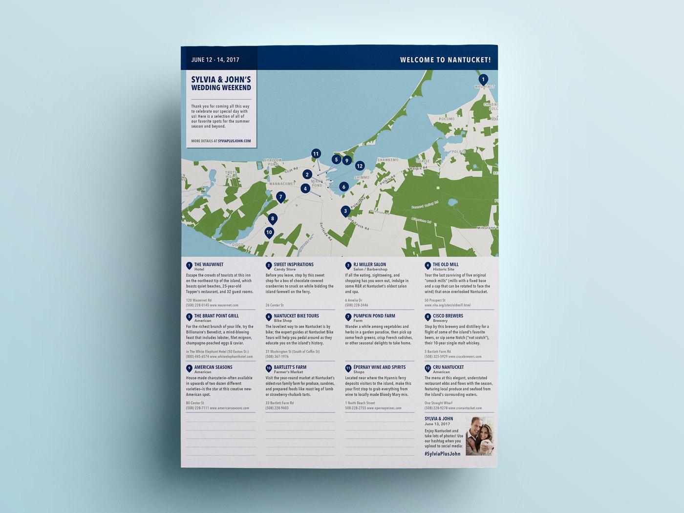 Wedding Weekend Pocket City Guide Welcome Program - Custom DIY Printable