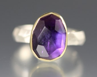 SALE  - Rose Cut Amethyst Chiseled Ring - Faceted Band