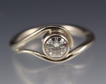 14k White Gold Vine Engagement Ring w/ Moissanite