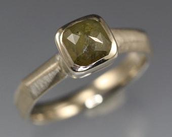 1.33 carat Olive Green Rose Cut Diamond Ring