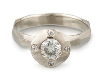 Moissanite Halo Engagement Ring - Chiseled Faceted Band - White, Yellow or Rose Gold