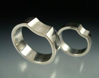 Silver Reverse Radius Wedding Rings - Made to Order