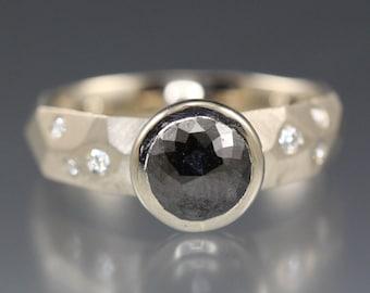 1.69 carat Black Rose Cut Diamond Ring