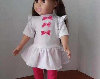 Bright Pink LEGGINGS and White Blouse with Peplum - 18 inch doll clothes